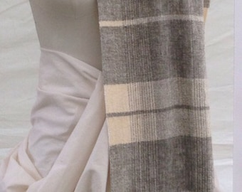 Ivory and Grey Handwoven Chenille Scarf