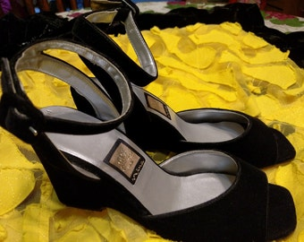 Vintage 90s NINA Shoes - Black Velvet Wedge- Ankle Wrapped Sling Backs- Size 7.5 Just In Time For Party Events