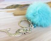 Pom Pom Keychain, Rabbit Fur Keychain, Fur Pom Pom, Mermaid Keychain, Fluffy Keychain, Blue Fur Keychain, Personalized Gift, Valentine Gift