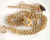 Antique 14K Gold Bracelet - Victorian Albertina Watch Chain Bracelet w Gem encrusted Center Slide, T-Bar Fob and Garnet Pendant