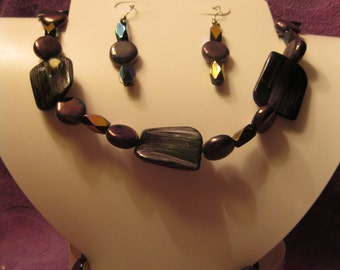 Shades of BLUE with Hint of BLACK and WHITE Retangles and Ovals Jewelry Set