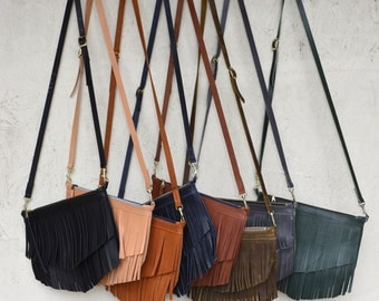 Calamity Crossbody w/ Fringe - Leather Fringe Bag/ Handmade leather purse / Leather Crossbody