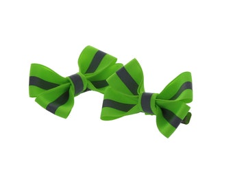 Lime/Yellow Reflective Firefighter Piggy Tail Bows