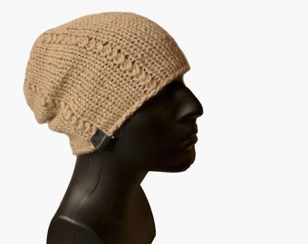 Baby Alpaca Beanie Hat / Mens Slouch Hat / Mens Hat / Beanie Hat / Urban Style / Knit Hat / Gift for him