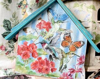 Hand Painted Hummingbird House Plaque