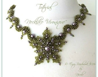"Beading Pattern : ""Véronique"" Necklace in English D.I.Y."