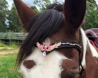 Unique Swan Teardrop Gem Bling Browband for Horse Bridle - Pink or Diamond / White