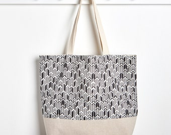 Black and White Reusable Grocery Bag, Market Tote Bag in Feather Onyx by Made on Main VT