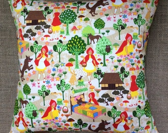 Little Red Riding Hood Fabric Cushion With Interior 40cmx40cm