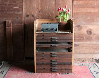 Vintage Map Cabinet, Rustic Storage Cabinet, Flat File Cabinet, Antique Apothecary Cabinet, Letterpress Cabinet Library Card Catalog Cabinet
