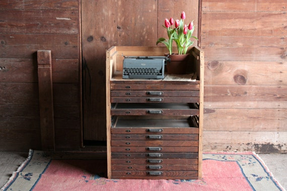 Vintage Map Cabinet Rustic Storage Cabinet Flat File