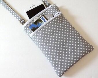 Crossbody Bag, iPhone 6 Plus, Galaxy Note, Passport Double Zipper Bag, Travel Bag, Cross Body Purse - 25 Selections, Chevron, Spinning, Dot