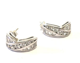 Sterling Silver And Clear Rhinestone Crescent Earrings