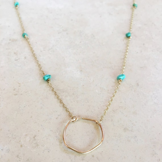 Gold filled circle choker with delicate turquoise chain