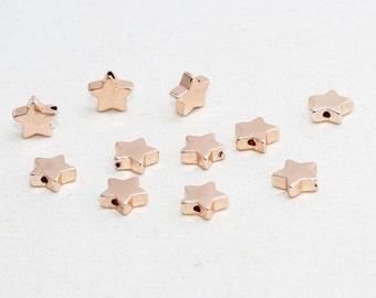 3 Pcs 8,5mm Rose Gold Star Beads, Center Hole Star Beads, Spacer Beads , ROSE134