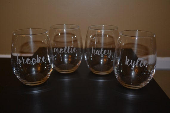 3 Personalized Etched Stemless Wine Glasses, Wine Glass Set, 3 Stemless Wine Glasses, Monogrammed Glassware, Bridesmaid Gifts, Weddings