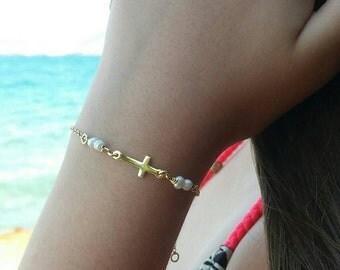 Sideways cross gold bracelet,freshwater pearl,gold filled bracelet,dainty gold filled,best friend bracelet, fine pearls,first communion gift
