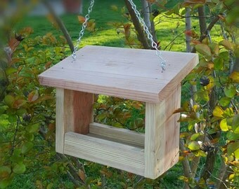 Wooden Bird Feeder Outdoor Hanging Birdfeeder Garden Accessories Natural Redwood