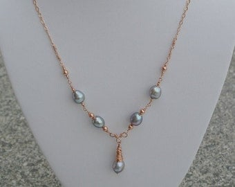 """Silver Grey Freshwater Pearl Pendant Necklace with 14K Rose Gold Filled Wire Wrapped Pendant and Chain """"Emma"""" Necklace"""