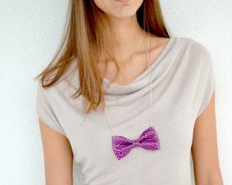 Leather bowtie necklace / Purple bow tie necklace / Statement necklace / Genuine leather / Purple croco