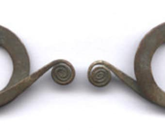 Old Thailand double spiral earrings, cross over coils, 3ga, antique, ancient (?), vintage body jewelry for stretched ear piercings