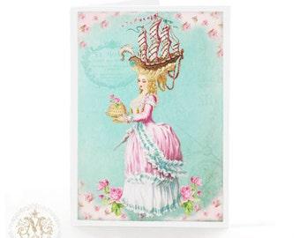 Marie Antoinette card, let them eat cake, blank card