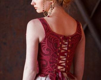 Art Nouveau Style Headdress - Brass Filigree and Red Glass Beads - Alphonse Mucha Style Headpiece