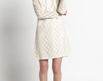 Vintage 60S Ivory Floral Lace Mod Shift Dress with Delicate Beading | 4