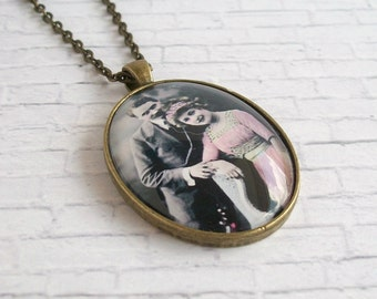 Antique Picture Necklace Romantic Vintage Photo Jewelry Edwardian Image Pendant