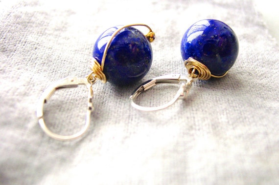 SALE Fine Lapis Lazuli Earrings Silver and Gold Wire Wrapped
