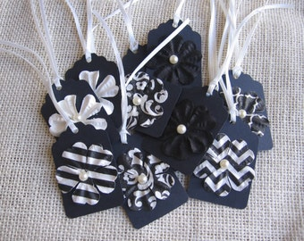 Black & White Floral Gift Tags, Set of 12, Wedding Birthday Anyday Gift Tags