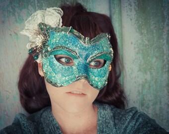 SALE, Cali Mask, Yule Gift, Pagan , Victorian Mask,Mardi Gras Mask, Halloween Mask, Lace Mask, Steampunk Mask,Masquerade Mask,Venetian Mask