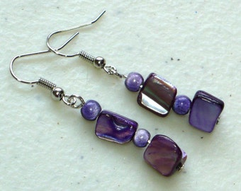 Lilac Shell Earrings - Woman's Earrings, Natural Shell and Purple Beads, Nickle-Free Earwires, Handmade in the US, Ready to Ship
