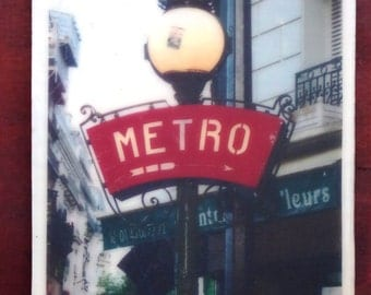 Encaustic Art, Paris Decor, Travel Photography Encaustic of Metro Sign, Paris Wall Art, Travel Decor for Paris Lovers, French Art Gift Idea