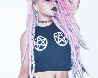 "Black croptop Witch "" Glitter Pentagramm Tits "" Cyber goth rave Festival Halloween pentacle grunge Occult 666 holographic seapunk tribal"