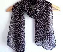 Black and peach color scarf, heart printed scarf, pink and black shawl, scarf with heart pattern