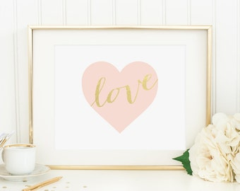 Heart Printable Pink and Gold Nursery Decor Blush Nursery Wall Art Girl Nursery Art Heart Wall Decor Shabby Nursery Decor Kid's Room Decor
