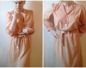 Vintage Mod 70's Light Orange & Blue Striped Dress with Cloth Rainbow Braided Belt by Pedestal. Size 10 Midi Button Up Long Sleeve.