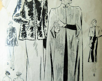 Vintage Butterick 7010 Sewing Pattern, 1930s Cape Pattern, 1930s Jacket Pattern, 1930s Sewing Pattern, Bust 36, Thirties Fashion, 30s Cape