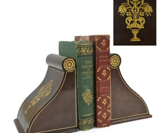Italian Leather Bookends - Florentine Designed with Gold Tooling, Rare Bookends, Vintage Decor, 20th Century