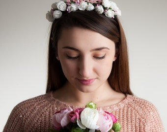 Bride Hen Do Party Bridal Accessory White Floral Crown Headband
