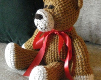 "Crocheted teddy bear stuffed animal doll toy ""Jack"""