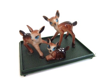 Plastic Deer Figurines, Vintage Deer, Miniature Deer Scene, Tiny Craft Deer, Terrarium Deer Accessories, Deer Diorama Figures