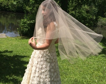 Bridal Veil Fingertip, Bridal Blusher Veil, Wedding Veil, Drop Veil, Fingertip Length Veil, Weddings, Accessories, Veils,