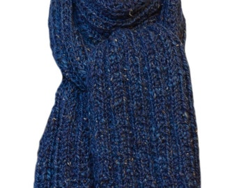 Hand Knit  Scarf - Blue Tweed Oceana Inca Wool Alpaca Trail Ridge Rib