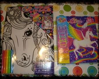 Lisa Frank Unicorn Velvet Mini Poster and Unicorn Puzzle