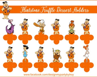 24 FLINTSTONE CANDY HOLDERS, Flintstone Forminhas, Flintstone Chocolate Holders,Flintstone Party,Flintstone Paper Supply,Flintstone Toppers.