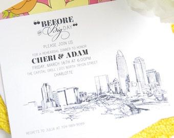 Charlotte Skyline Rehearsal Dinner Invitations (set of 25 cards)