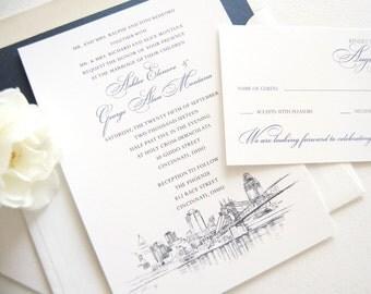 Cincinnati Skyline Wedding Invitations Package - Hand Drawn (Sold in Sets of 10 Invitations, RSVP Cards + Envelopes)