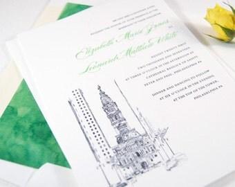 Philadelphia City Hall Skyline Wedding Invitation, Philadelphia Wedding Invitations (Sold in Sets of 10 Invitations, RSVP Cards + Envelopes)